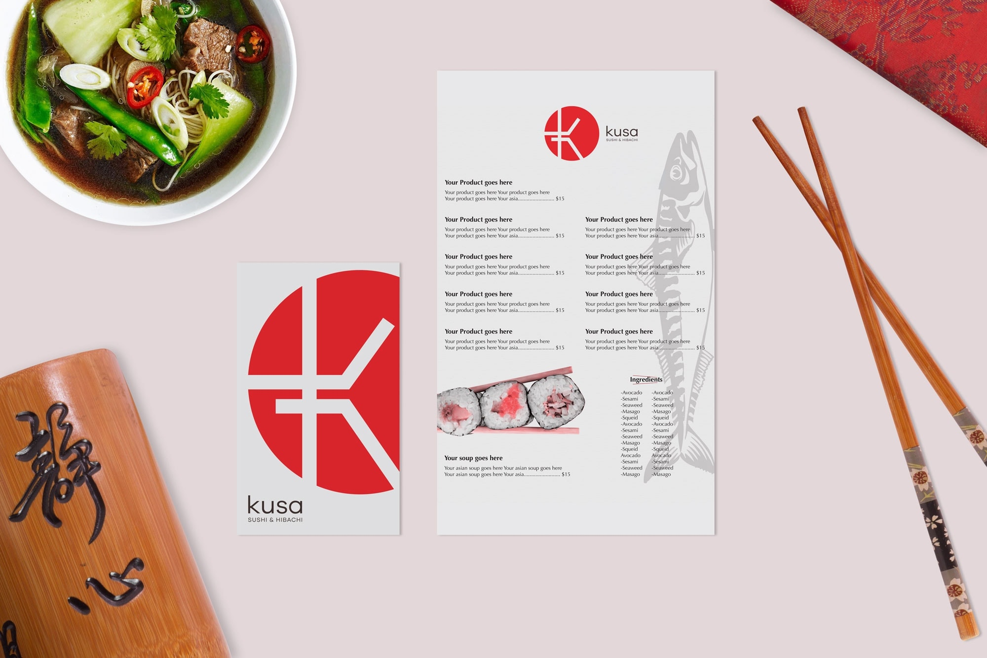 Kusa Restaurant Menu Design